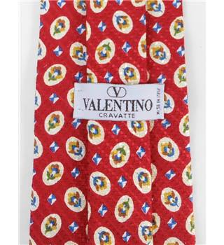 Valentino Scarlet Red and Multicoloured Geometric Floral Pattern Silk Tie