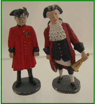Cast metal - - Town Cryer and Chelsea Pensioner figurines