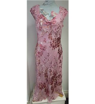 Women's pink full length sleeveless party/evening dress:size 14 Monsoon - Size: 14 - Pink - Full length dress