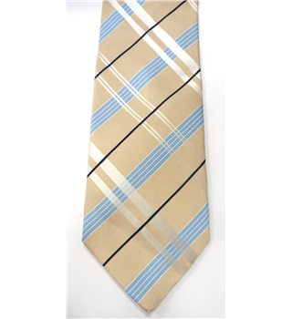 Baumler Iridescent Coffee Cream and Baby Blue Patterned Silk Tie