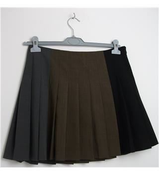 DKNY Grey / Brown / Black Fine Wool Pleated Mini Skirt Size 6