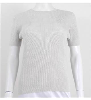 Marks & Spencer Size 14 Ivory Metallic Knit Tee