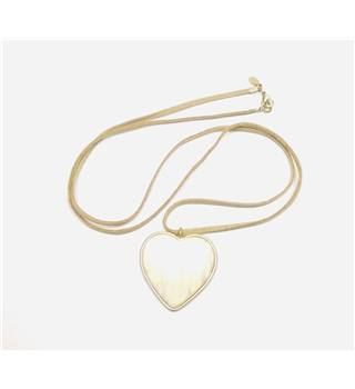 Brown faux suede necklet with heart off-white pendant - long
