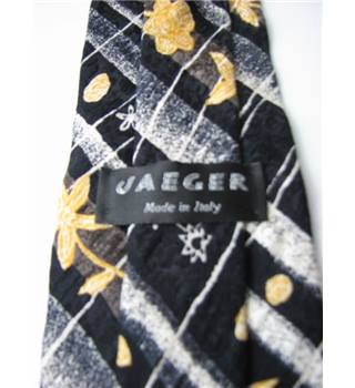 "Jaeger  Size 4"" With Black Silk Tie with White and Yellow Pattern"