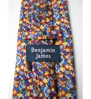"Benjamin James Size 4"" Width Red Yellow Blue White and Orange Floral Silk Tie"