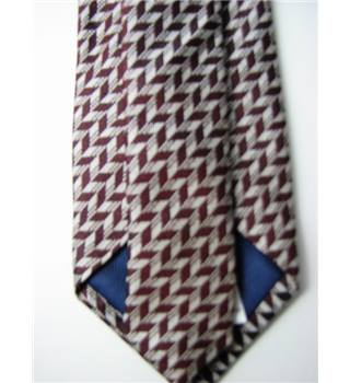 "M&S Size 3"" Brown and White Patterned Silk Tie"