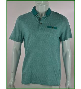 Ted Baker - size: L, green patterned polo shirt