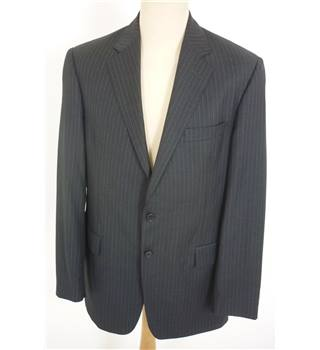 "Aquascutum Size: L, 42"" chest, tlrd fit Storm Grey With Fine Pinstripe Smart/Stylish  Wool Designer Single Breasted Jacket"