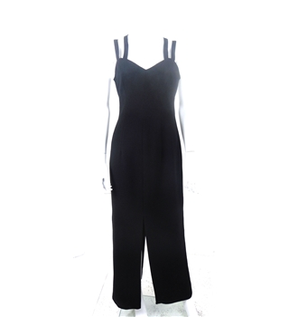 Vintage 1990s After Six Ronald Joyce Size S Black Extreme Cross Strap Double Slit Evening Dress