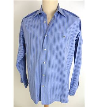 "Lacoste - size: Medium, 40"" chest, 15"" collar blue striped long sleeved shirt"