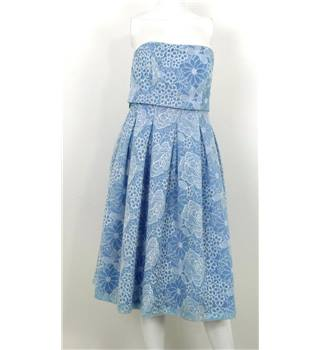 Loaded Size 10 Powder Blue Strapless Pleated Lace Dress
