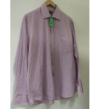 Men's Size 16 Pink And Blue Checked Shirt Balmain Paris - Size: M - Pink - Long sleeved
