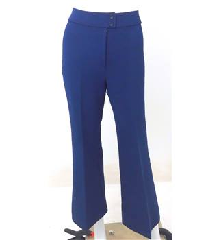 Vintage 1980s Circa Size 8 St Michael's Royal Blue Crimplene Trousers