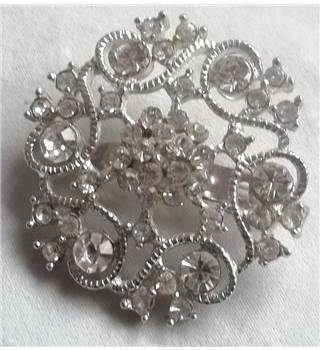 Silver Coloured Brooch With Clear Stones