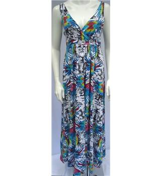 Firetrap Blackseal  Size M White with Black and Grey Fauna and Colourful Parrot Wing Print Maxi Dress