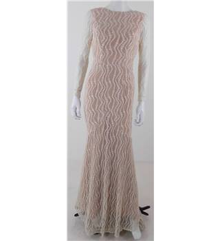 Jarlo - Size: 8 - Nude with White Lace Evening dress