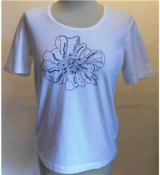 Crystal-Detailed White T-Shirt 'Gerry Weber' - Size: 12