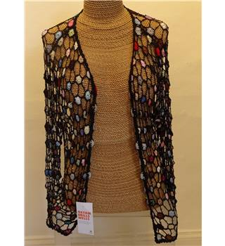 Black Crocheted Multi-coloured Cardigan - One size: regular