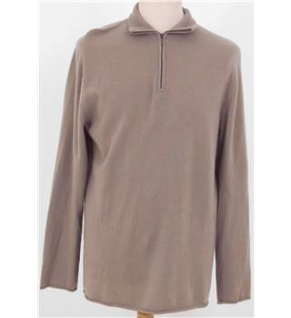 Oats Medium Cashmere Oatmeal Half Zip neck Jumper