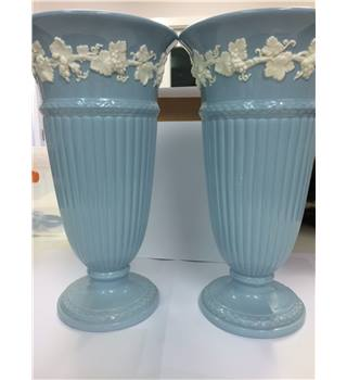 Two Wedgwood of Etruria Barlaston Embossed Queens Ware Vase Blue White