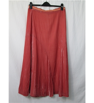 Betty Barclay - size 12  salmon pink  long crushed velvet skirt