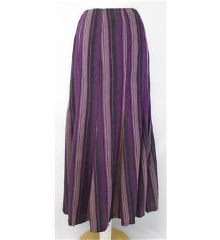 BNWT Adini  size M  purple multi stripe cotton maxi flared skirt