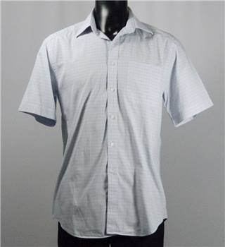 "M&S Collezione Short Sleeved Shirt - Blue Checked Pattern - 15.5"" Neck"