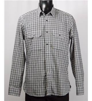 Barbour Black and White Checked Shirt - Size M - Long Sleeved