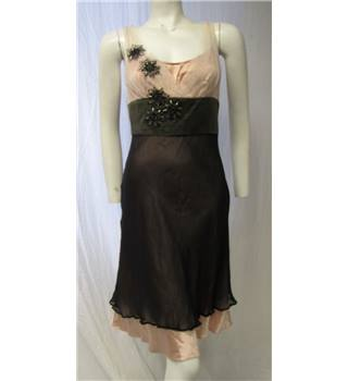 Muse Size 8 Brown & Pink Silk Dress Muse - Size: 8 - Brown