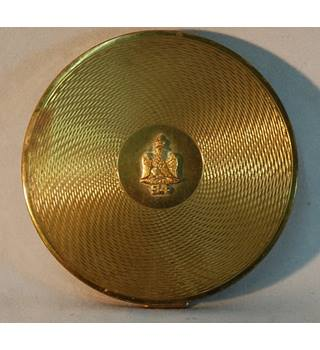 Vintage Brass Compact with French Regimental Badge
