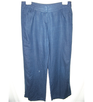 Monsoon size: 14 navy blue linen trousers