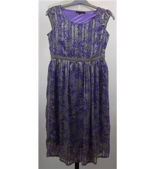 Coast- Size 8- Purple and metallic grey- Floral dress