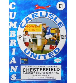 Carlisle United v Chesterfield - Division 4 - 29th February 1992