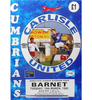Carlisle United v Barnet - Division 4 - 10th March 1992