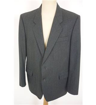 "Givenchy Size: L, 44"" chest, trd fit Grey With Fine Blue & Red Pinstripe Stylish Pure New Wool Designer Single Breasted Jacket"