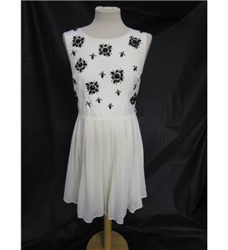 Next - Size: 12 - Cream with Black Embellishments Knee Length Dress