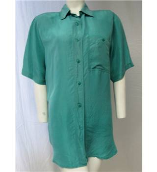 C&A Green Silk Shirt, Size 14.99 C&A - Size: M - Green