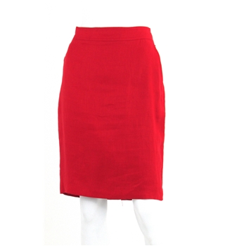 Ralph Lauren Size S Royal Red Knee Linen Length Skirt with Gold Button