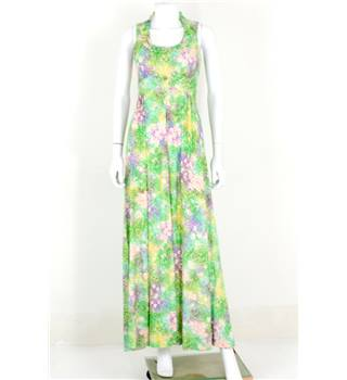 Vintage 1970s Meleny Road by Sylvia Madon Size 8 Green, Pink and Purple Painted Floral Maxi Dress