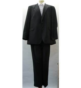 Austin Reed - Size Jacket 46R, trousers 40R - Dark Grey with light grey stripe - Men's Designer Suit
