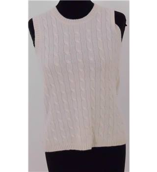 Lord & Taylor Size: M Cream/Ivory Round Neck Sleeveless Sweater