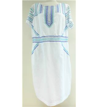Per Una - Size: 22 - White - Short sleeved dress