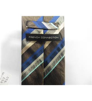 French Connection Blue and Brown Striped Silk Tie