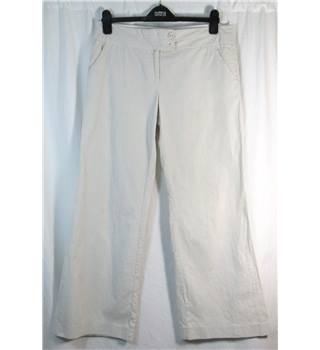 Monsoon size 12 Short cream pinstriped trousers. In Cotton.