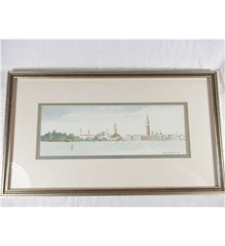 Framed Panoramic Watercolour of Venice