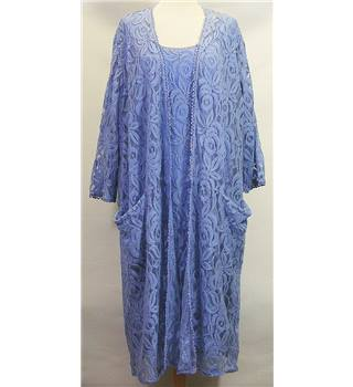 BNWT Roland Klein - Size 20 - Pastel Blue Floral Lace Dress and Cardigan Set with Pockets ( REDUCED )