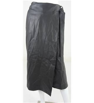 Marks & Spencer Collection Black Faux Leather Calf-Length Wrap over Skirt UK Size 8 / Euro Size 36
