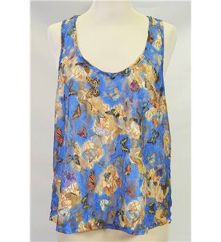 Select - Size 12 - Blue Butterfly and Floral Rose Lace Sleeveless Top