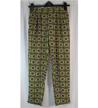 "Atelier 61 - Size: 38"" - Yellow/Pink/White Print - Trousers"