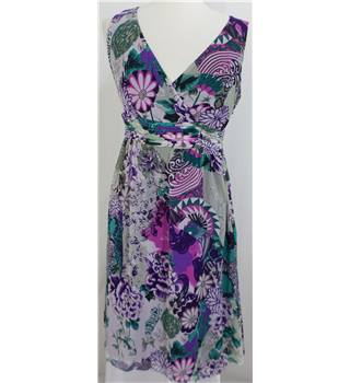 Per Una size: 12L purple and turquoise floral sleeveless dress